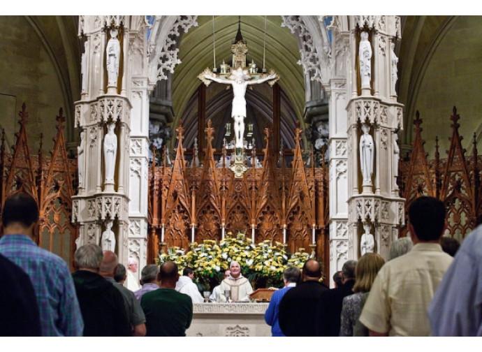 La messa del pellegrinaggio (Bryan Anselm per The New York Times)