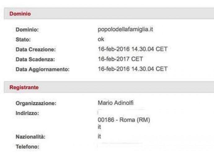 La schermata di registrazione del logo popolodellafamiglia.it