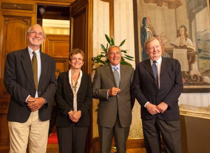 I senatori a vita Piano, Cattaneo e Rubbia con il presidente Grasso