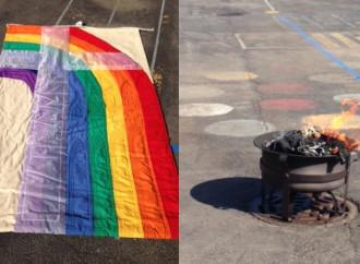 Bandiera arcobaleno a fuoco, il prete vittima due volte