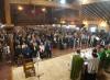 La messa del cardinale nell'ampio salone dei ricevimenti della comunità di recupero