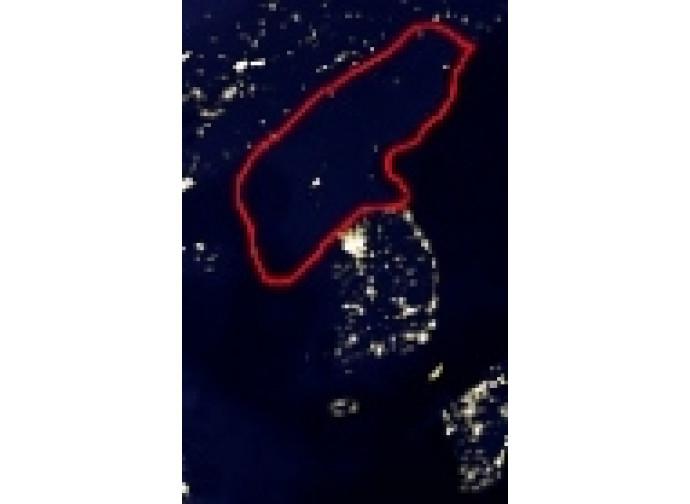 Fotografia satellitare notturna della Corea del Nord