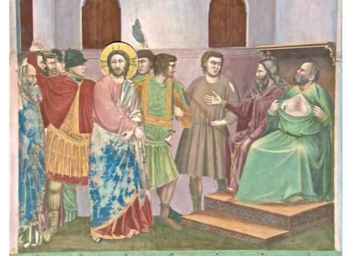 Caifa si straccia le vesti davanti a Gesù