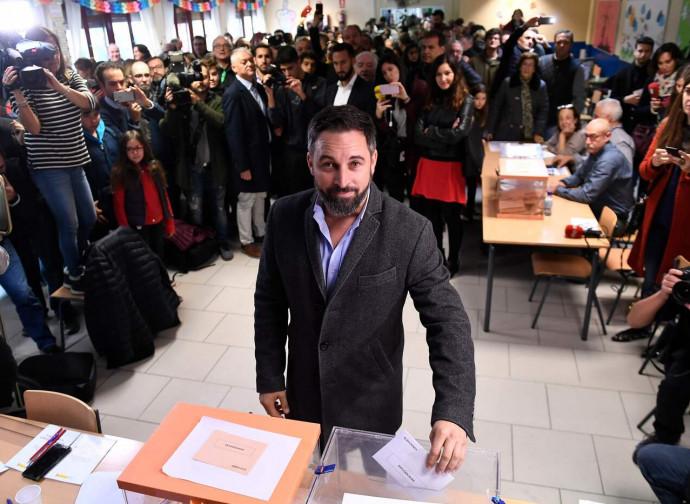 Santiago Abascal (leader di Vox) al voto