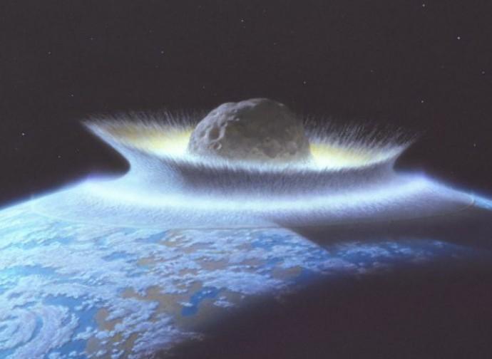 Impatto di un asteroide (rendering)