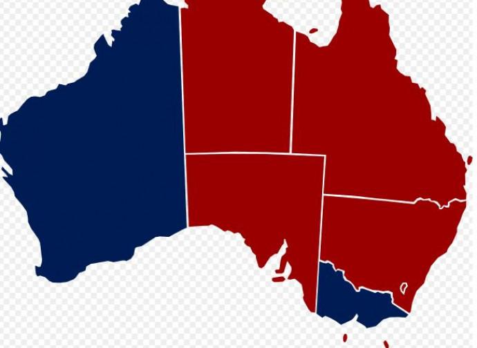 Australia (in blu le regioni dove l'eutanasia è legale)