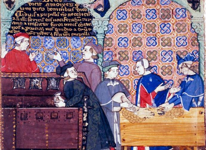 Banca, in una miniatura medievale
