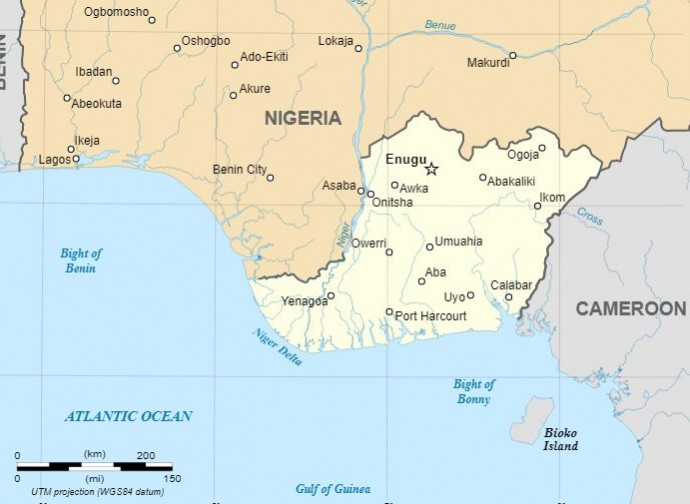 Il territorio dell'ex Stato indipendente del Biafra
