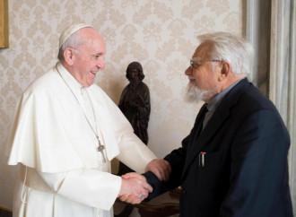Enzo Bianchi in udienza dal Papa nel gennaio 2019