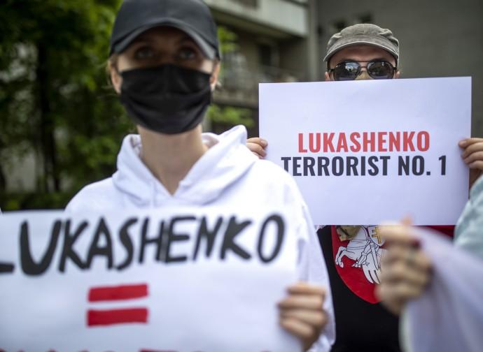 Protesta contro Lukashenko, in Lituania