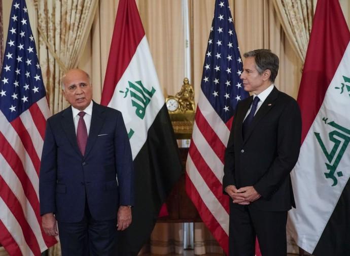 Faud Hussein (ministro degli Esteri iracheno) ed Antony Blinken (Segretario di Stato Usa)