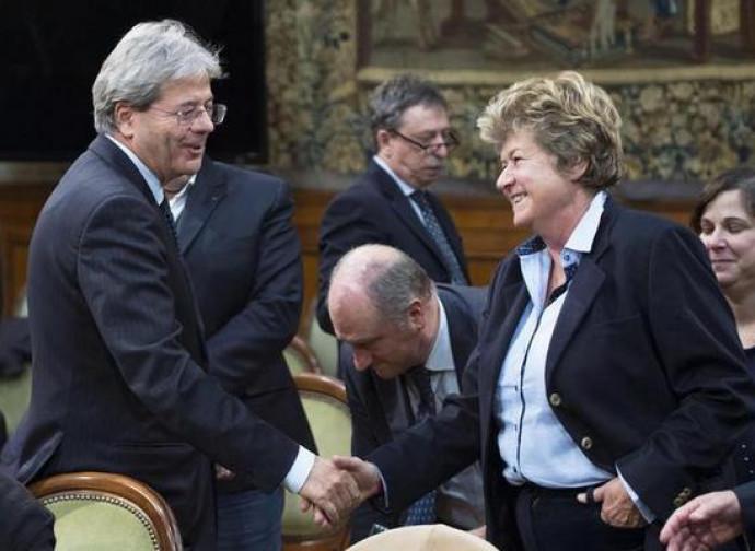 Gentiloni con Susanna Camusso