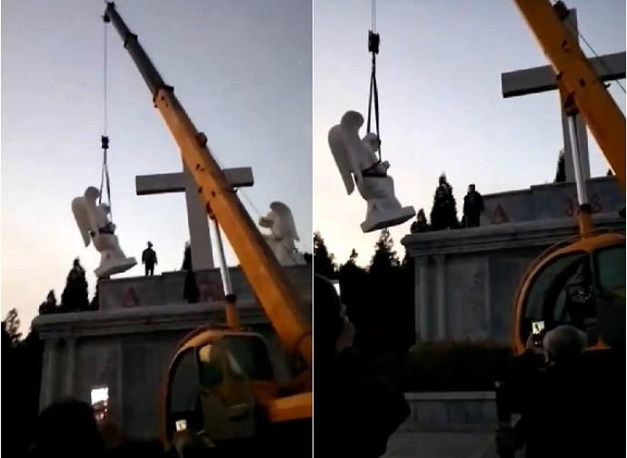 Rimozione delle statue dal santuario di Nostra Signora dei Sette Dolori