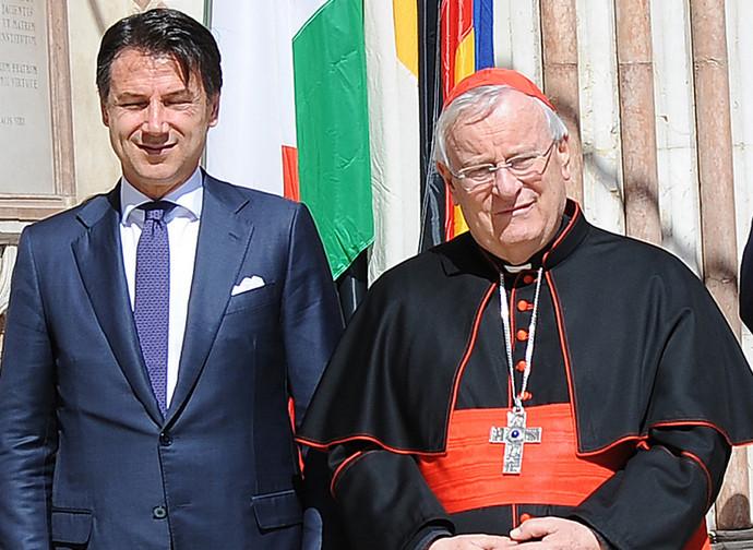 Giuseppe Conte e il cardinale Bassetti