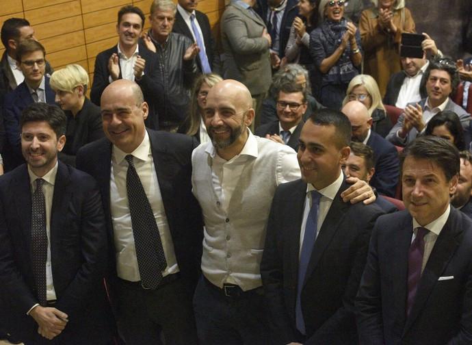 Zingaretti, Di Maio e Conte, tutti insieme in Umbria