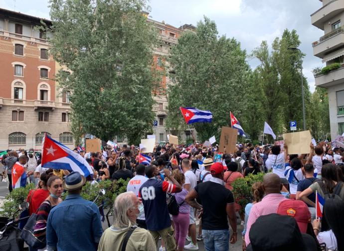 Manifestazione del dissenso cubano a Milano