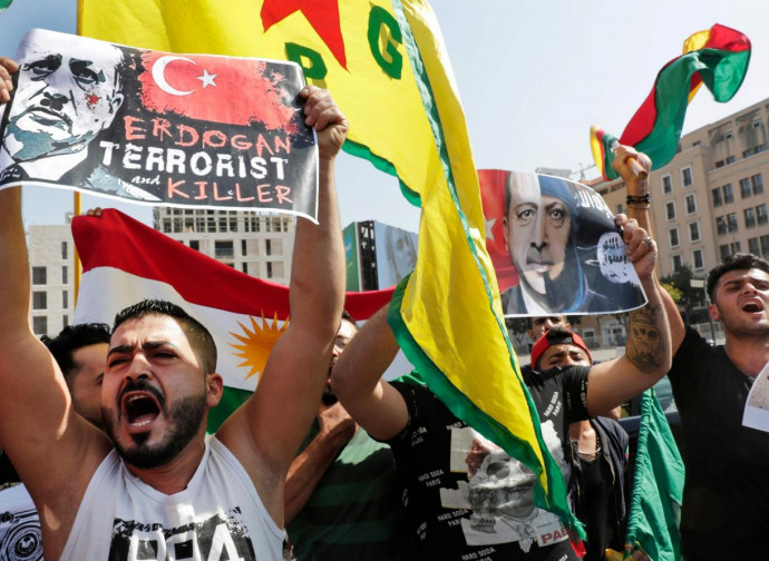 Manifestazione curda contro Erdogan