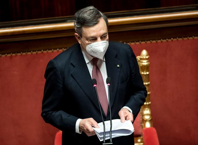 Il presidente del Consiglio incaricato Mario Draghia