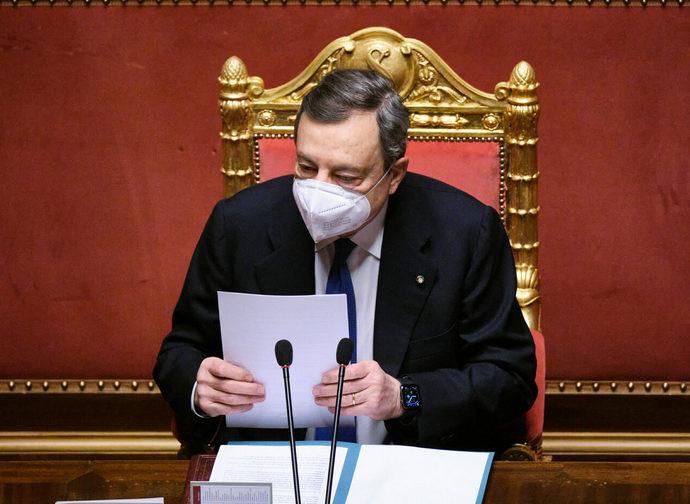 Il presidente del Consiglio Mario Draghi ieri al Senato