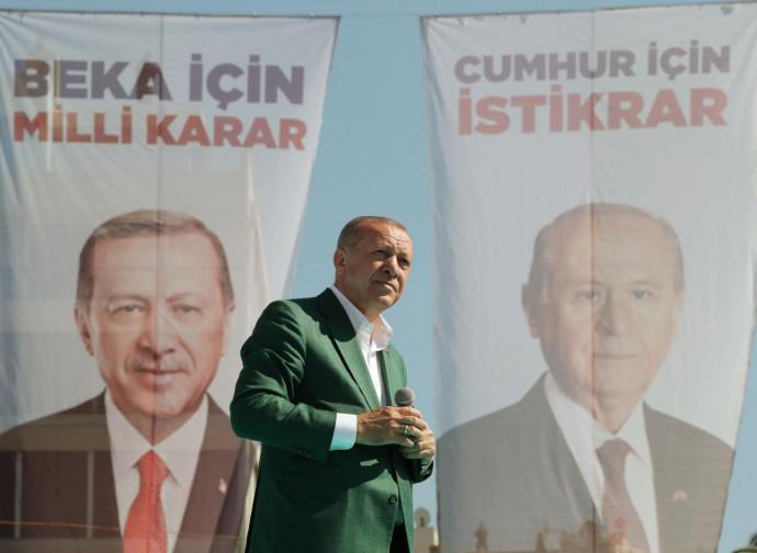 Recep Tayyip Erdogan in campagna elettorale