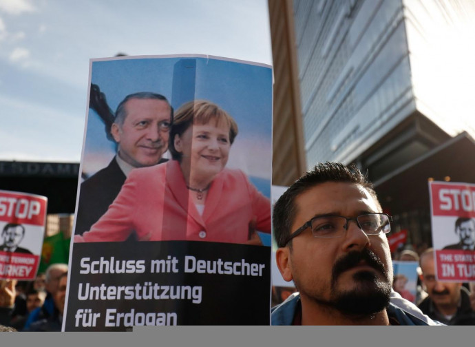 Proteste in Germania contro il presidente turco Erdogan