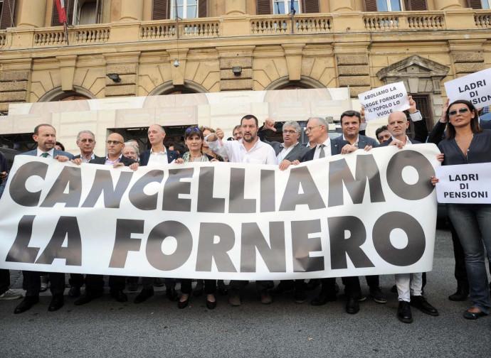 Salvini e la protesta contro la riforma delle pensioni