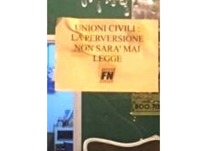 il volantino appeso al Gay center di Roma