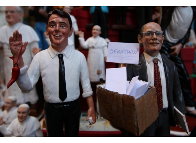 Le statuine di Renzi e Letta (sfrattato)