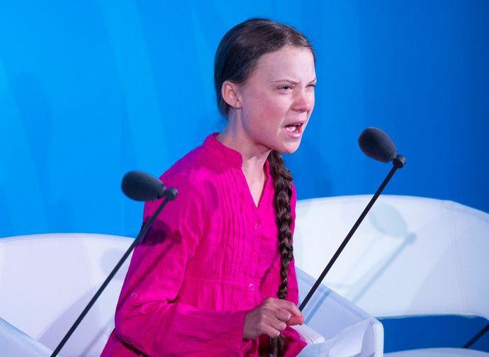 Greta durante il discorso allo UN Climate Summit