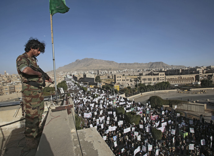 Sanaa (Yemen), manifestazione degli Houthi