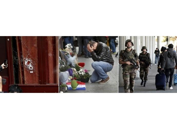 Il locale a Parigi assaltato dai terroristi, i fiori dopo la strage, l'esercito nelle strade
