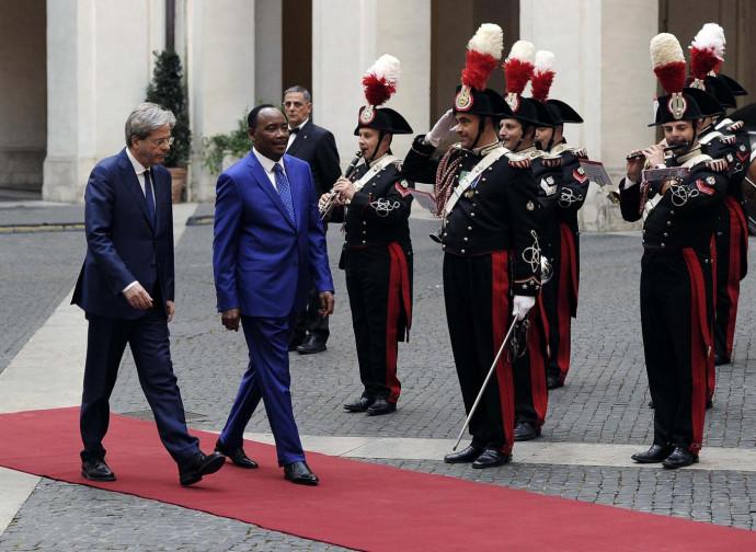 Il premier Gentiloni accoglie il presidente del Niger Mamadou Issoufou
