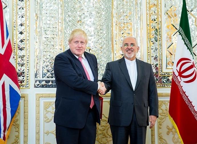 Boris Johnson, ministro degli Esteri, incontra Zarif (Iran)