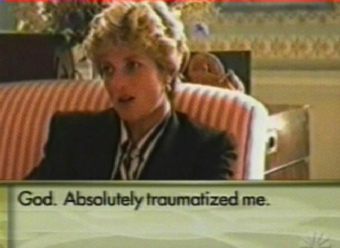 Un fermo immagine della famosa intervista della Bbc a Lady Diana