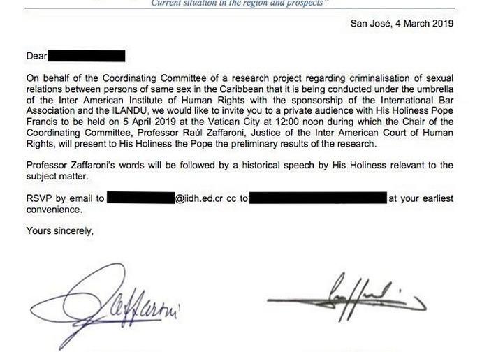 La lettera di invito all'incontro con il Papa