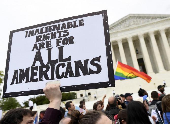 Manifestazione Lgbt alla Corte Suprema Usa