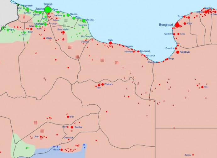 Libia, situazione al 14 aprile 2020 (in verde Gna, in rosso Lna)
