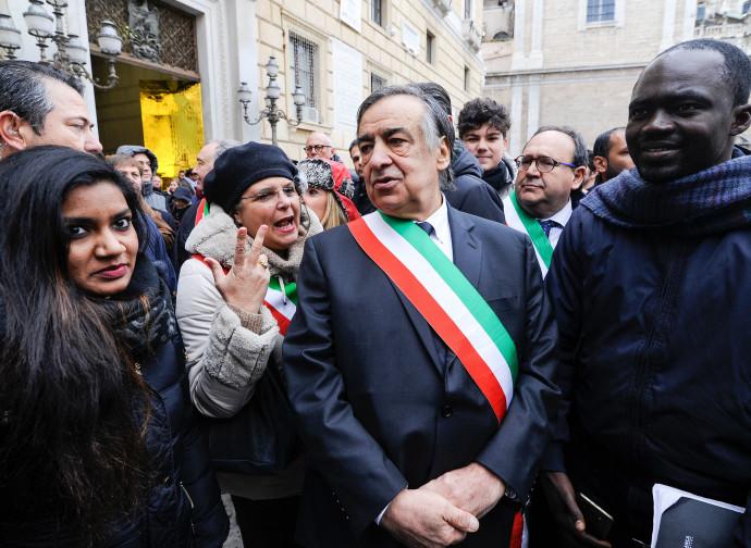 La manifestazione di ieri a Palermo del sindaco Orlando