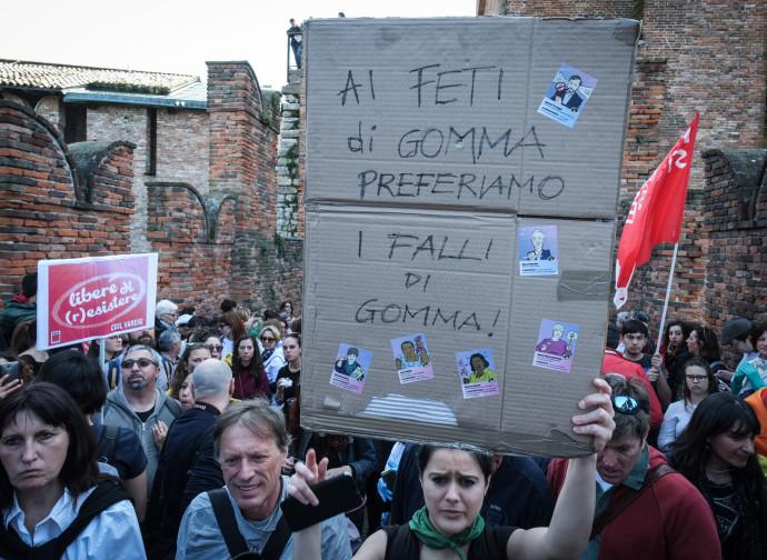 La manifestazione delle femministe di ieri