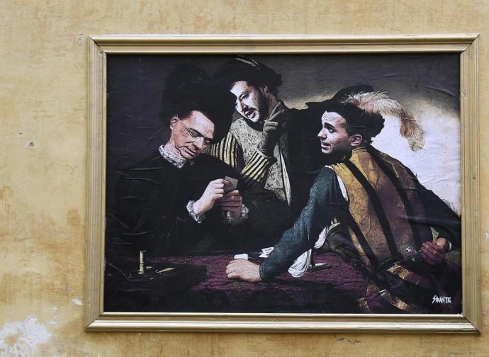 Berlusconi, Salvini e Di Maio dipinti in stile caravaggesco (via dei Lucchesi, Roma)