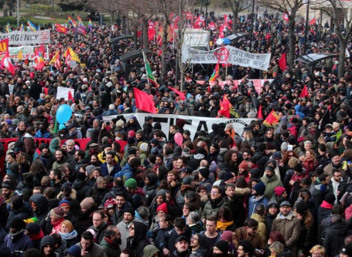 La manifestazione antifascista di Macerata