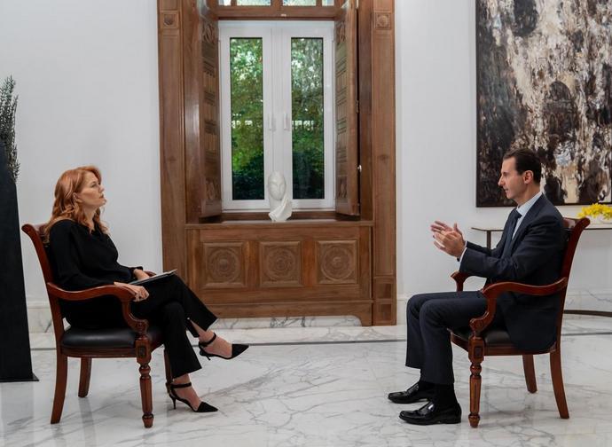 Monica Maggioni e il presidente siriano Assad