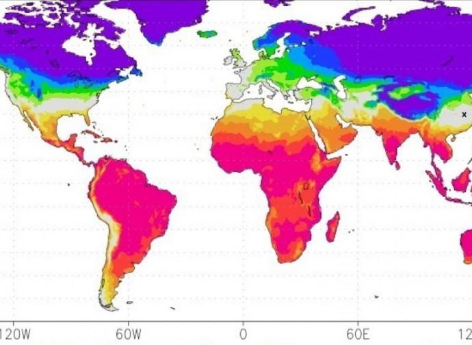 La mappa delle temperature in febbraio