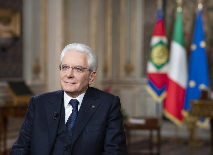 Il presidnete Mattarella durante il discorso di fine anno