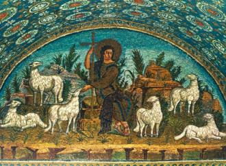 Il buon pastore che salva prefigurando la crocifissione