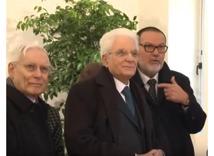 Melloni e Mattarella nella sede della Fscire con il presidente della Fscire Onida
