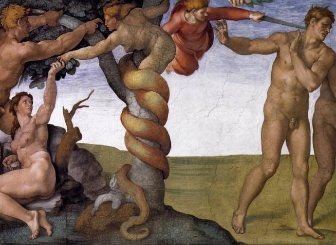 Michelangelo - La cacciata di Adamo ed Eva dal Paradiso