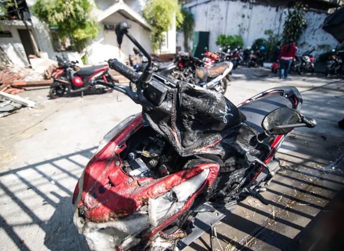 Una delle moto bombe usate per l'attentato