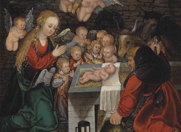 Lucas Cranach il vecchio e cerchia (1472-1553) La Sacra Famiglia con angeli - bambini e pastori (c.1500?)
