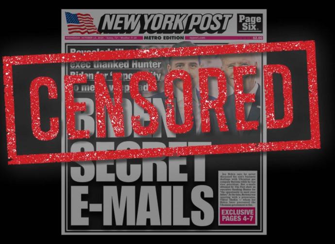 La prima pagina del sito del New York Post dopo la censura di Twitter